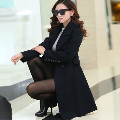 黑色女士风衣
