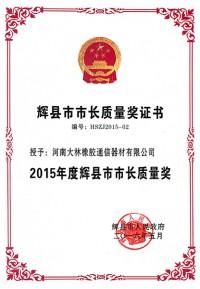 辉县市市长质量奖证书