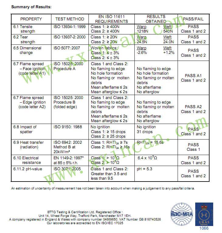 EN11611阻燃面料标准 欧盟阻燃布标准