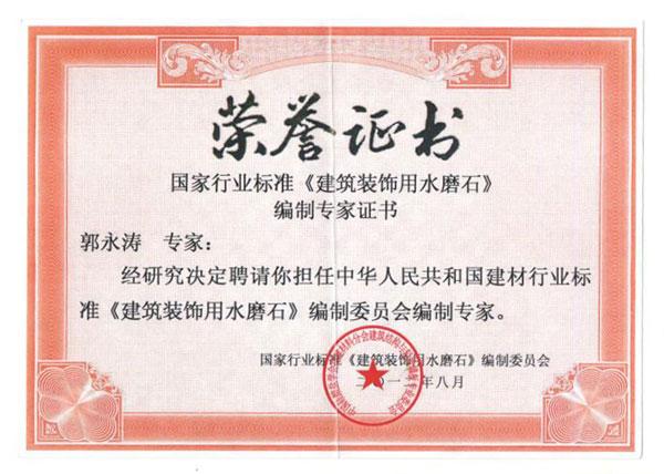 行业标准荣誉证书
