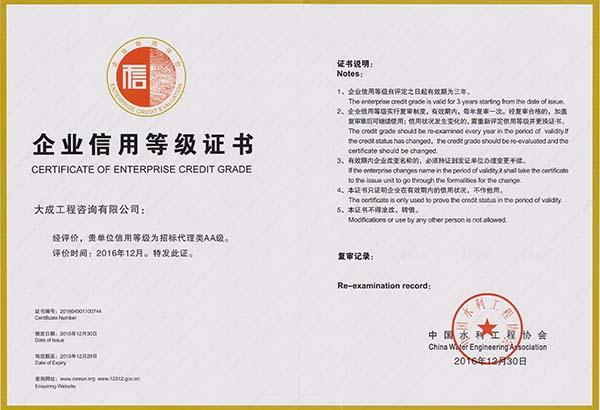 中国水利bwin3099协会AA证书