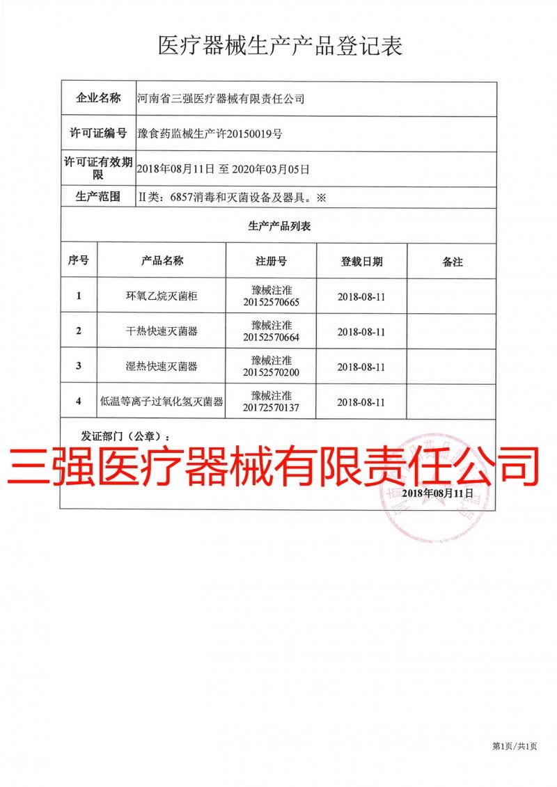 医疗器械生产产品登记表