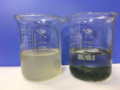 食品加工企业污水中使用聚丙烯酰胺前后对比