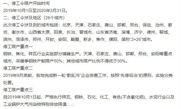 2019-2020年京津冀及周边地区停工令