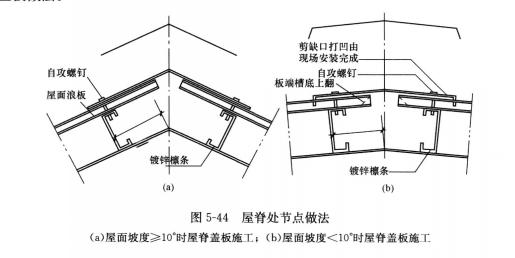 图5-44 屋脊处节点做法