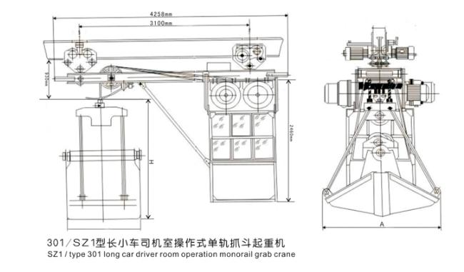 301_SZ1型长小车司机室操作式单轨抓斗起重机