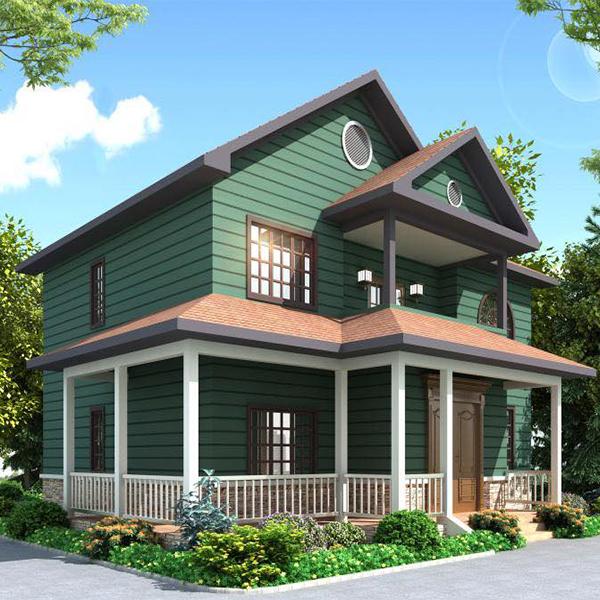綠色清新二層拚接輕鋼別墅