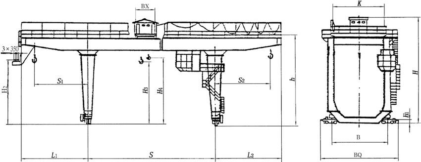 U型雙主梁門式起重機結構圖