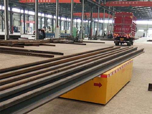 河南冠杰:为安徽某工厂提供无轨电动平车,解决企业钢块搬运问题