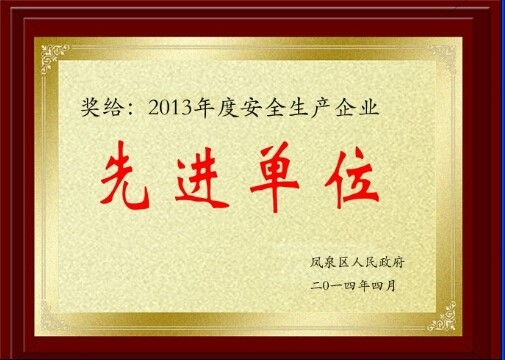 2013年度安全生产企业先进单位